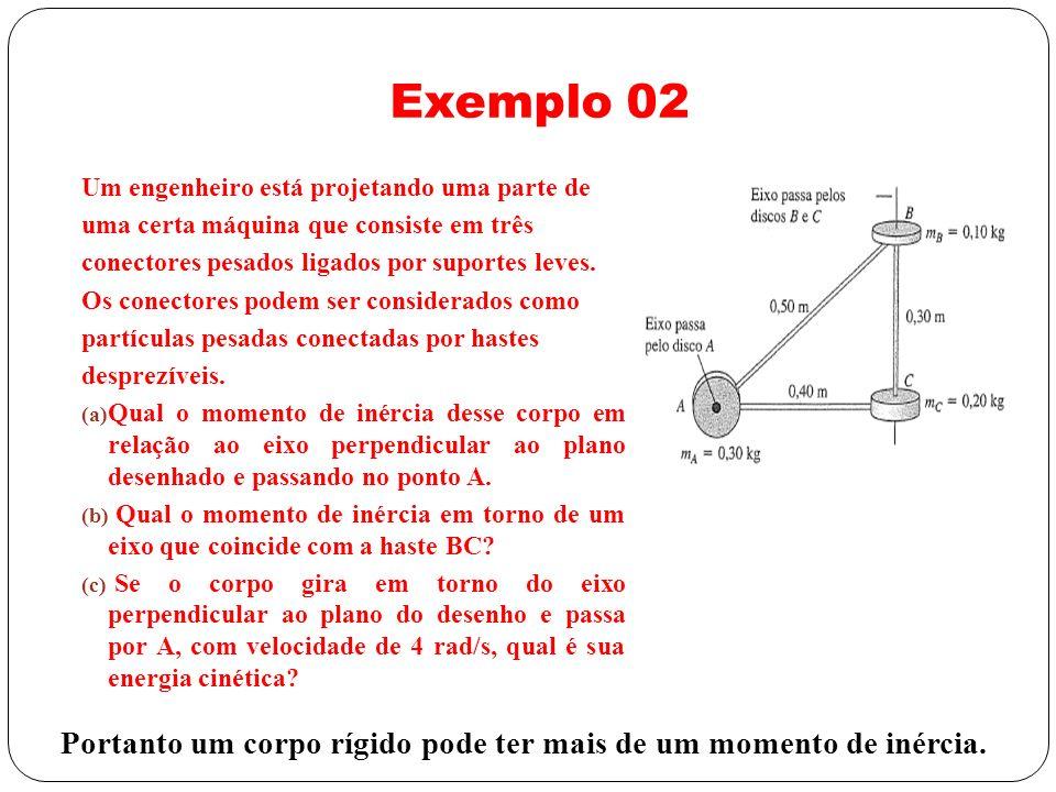 Exemplo 02 Um engenheiro está projetando uma parte de. uma certa máquina que consiste em três. conectores pesados ligados por suportes leves.