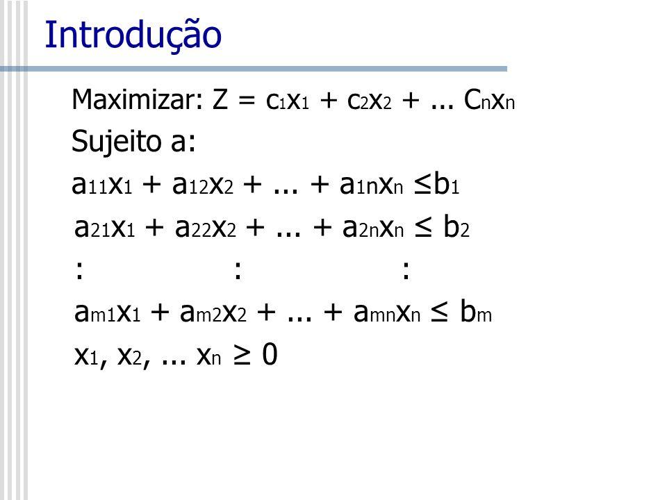 Introdução Sujeito a: a11x1 + a12x2 + ... + a1nxn ≤b1