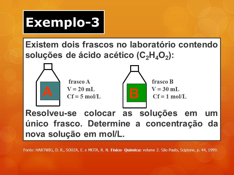 Exemplo-3 Existem dois frascos no laboratório contendo soluções de ácido acético (C2H4O2): frasco A frasco B.