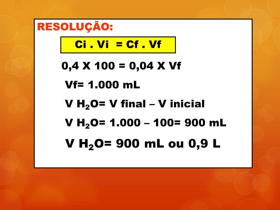 V H2O= 900 mL ou 0,9 L RESOLUÇÃO: 0,4 X 100 = 0,04 X Vf