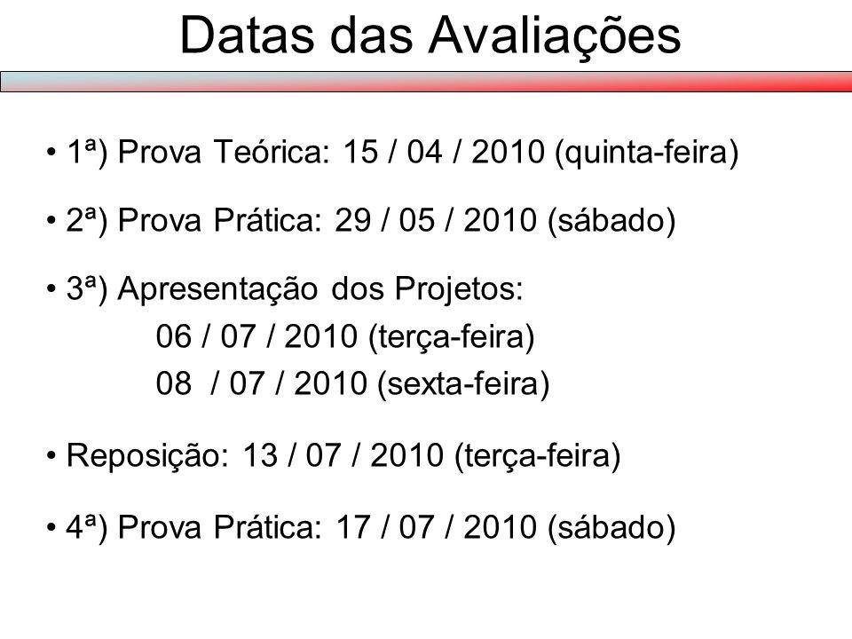Datas das Avaliações 1ª) Prova Teórica: 15 / 04 / 2010 (quinta-feira)