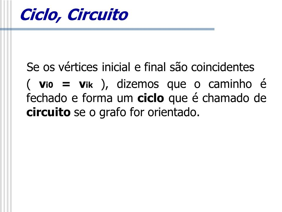 Ciclo, Circuito Se os vértices inicial e final são coincidentes