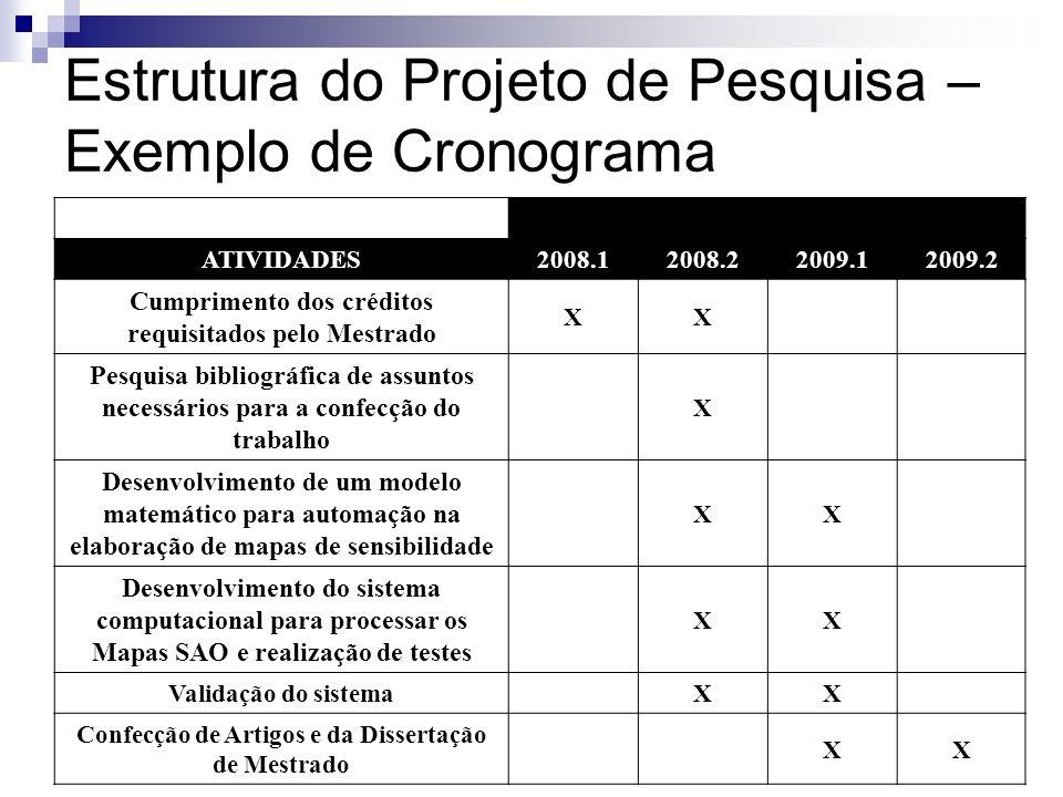 Estrutura do Projeto de Pesquisa – Exemplo de Cronograma