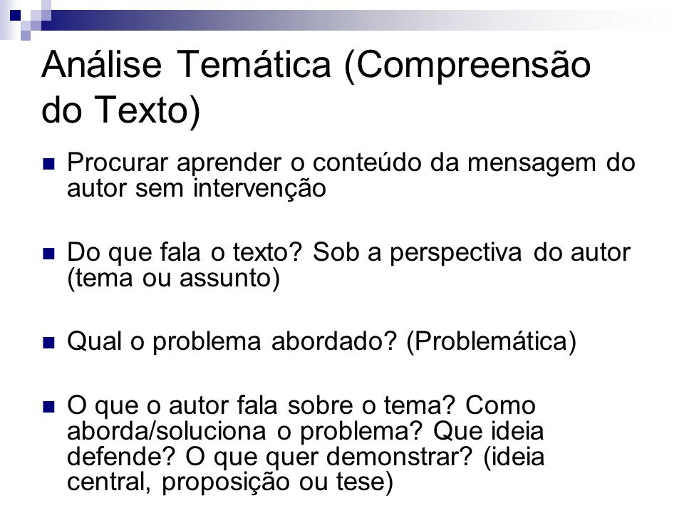 Análise Temática (Compreensão do Texto)