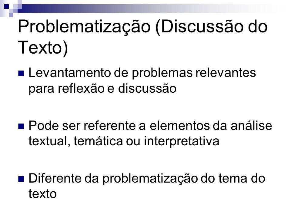 Problematização (Discussão do Texto)