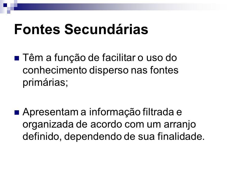 Fontes SecundáriasTêm a função de facilitar o uso do conhecimento disperso nas fontes primárias;