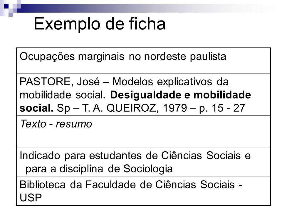 Exemplo de ficha Ocupações marginais no nordeste paulista