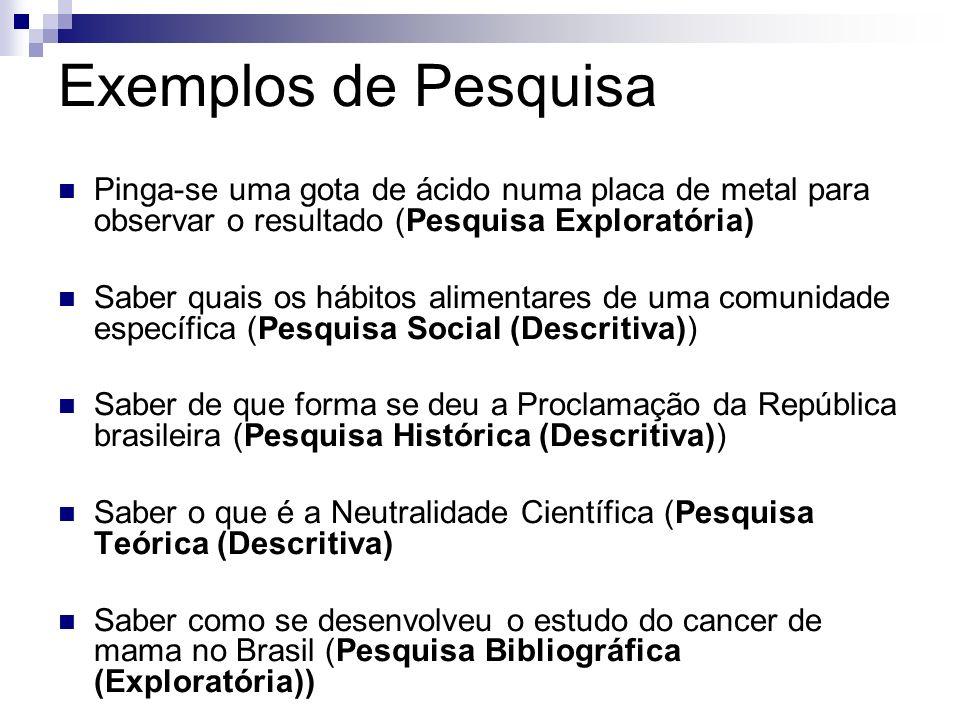 Exemplos de PesquisaPinga-se uma gota de ácido numa placa de metal para observar o resultado (Pesquisa Exploratória)