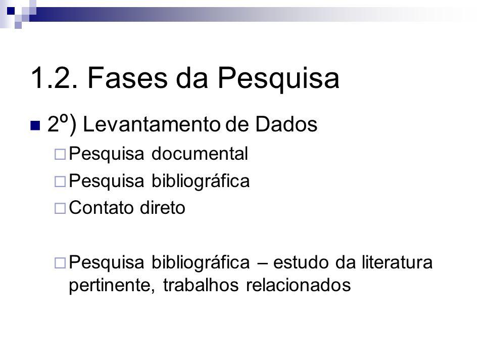 1.2. Fases da Pesquisa 2º) Levantamento de Dados Pesquisa documental