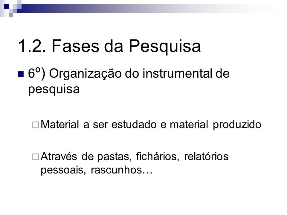 1.2. Fases da Pesquisa 6º) Organização do instrumental de pesquisa