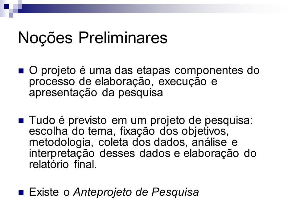 Noções PreliminaresO projeto é uma das etapas componentes do processo de elaboração, execução e apresentação da pesquisa.