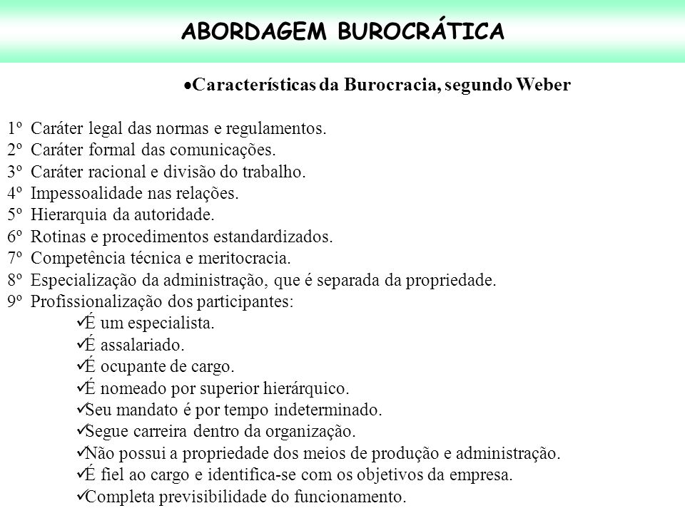 ABORDAGEM BUROCRÁTICA