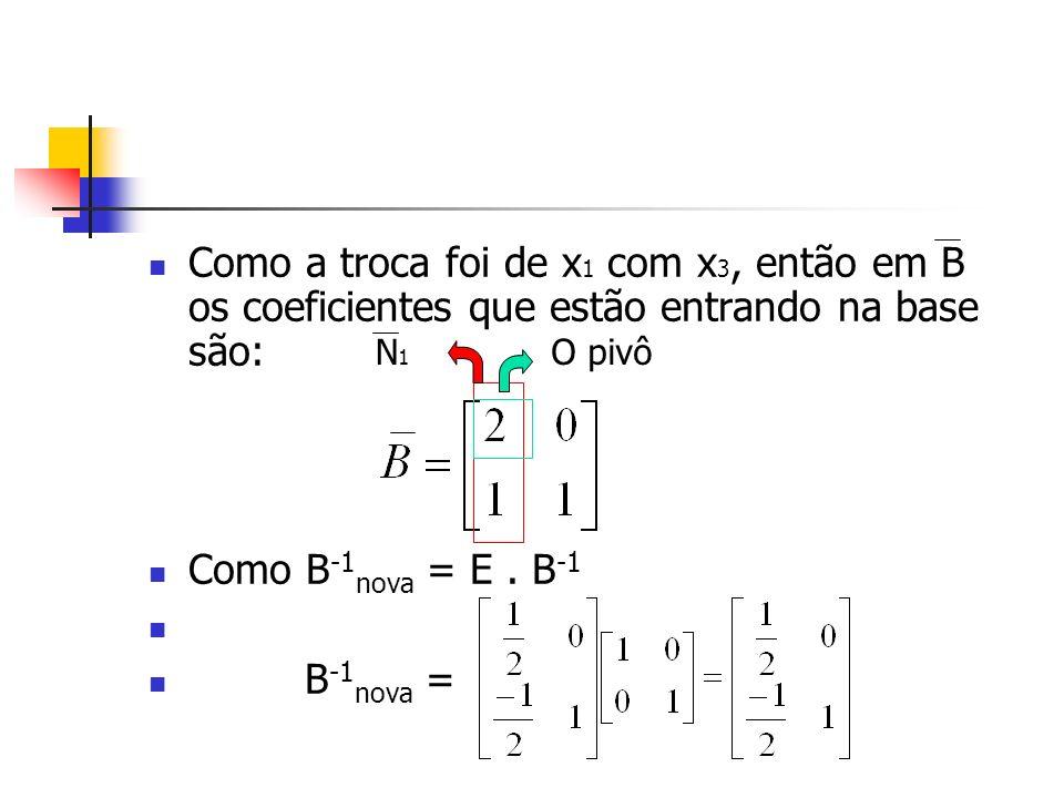 Como a troca foi de x1 com x3, então em B os coeficientes que estão entrando na base são: