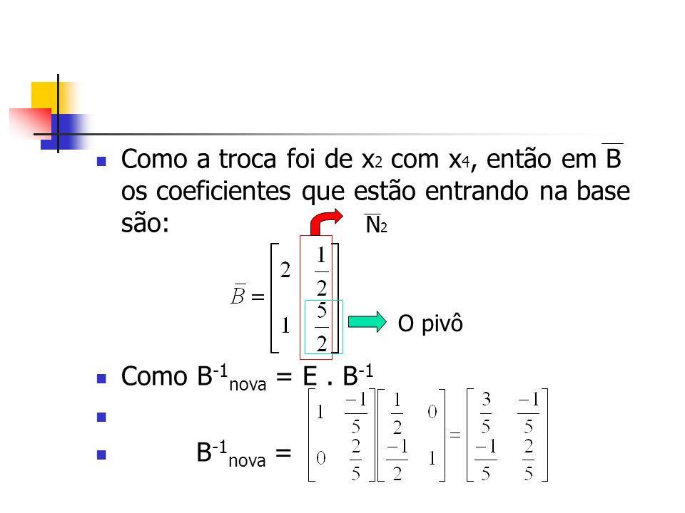 Como a troca foi de x2 com x4, então em B os coeficientes que estão entrando na base são: