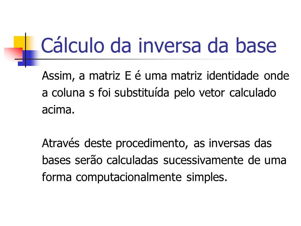 Cálculo da inversa da base