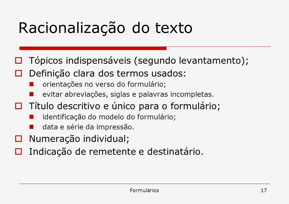 Racionalização do texto