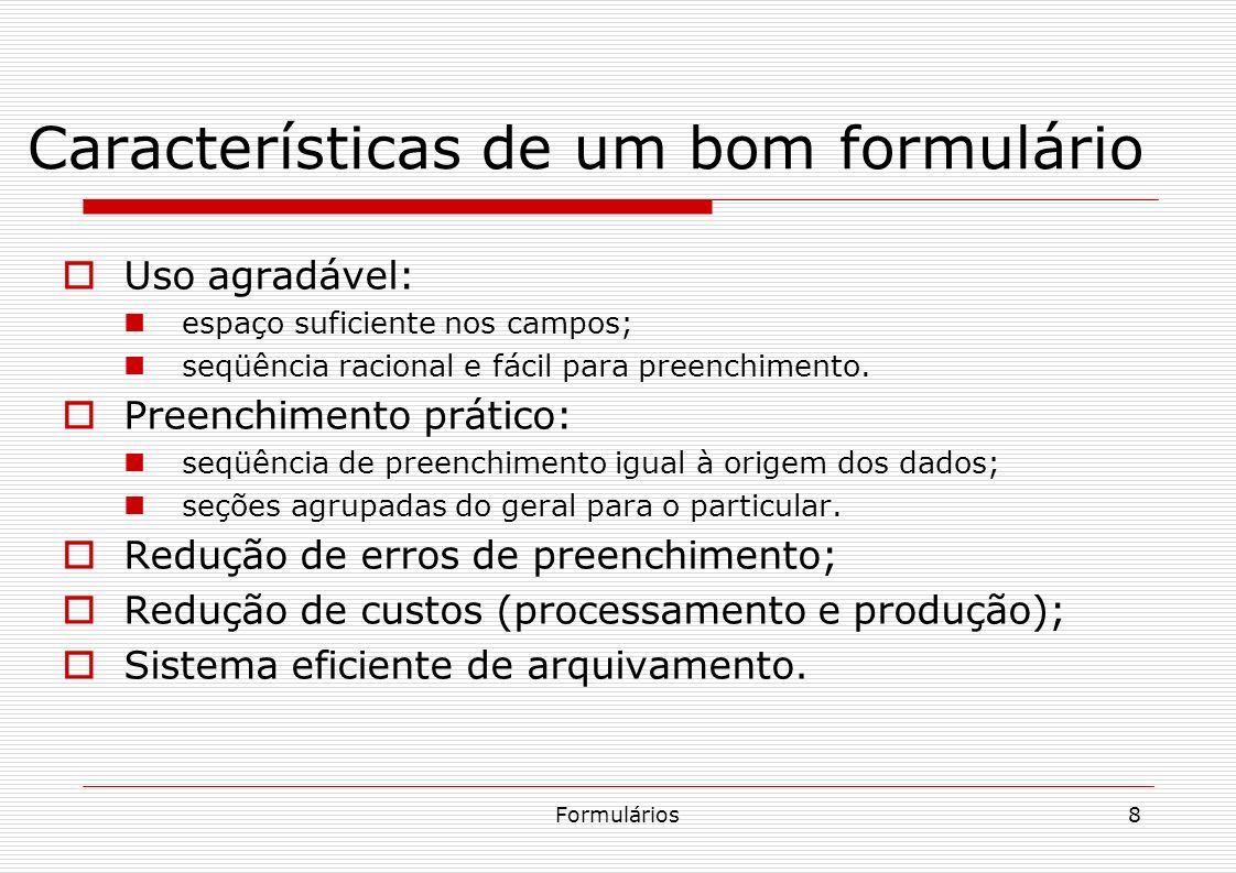 Características de um bom formulário