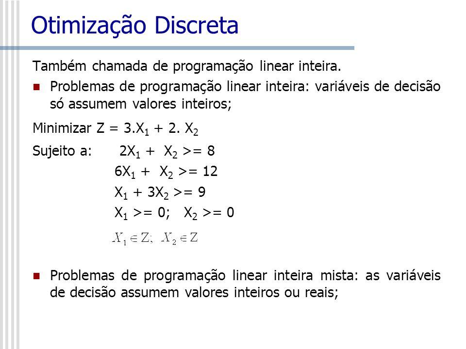 Otimização Discreta Também chamada de programação linear inteira.
