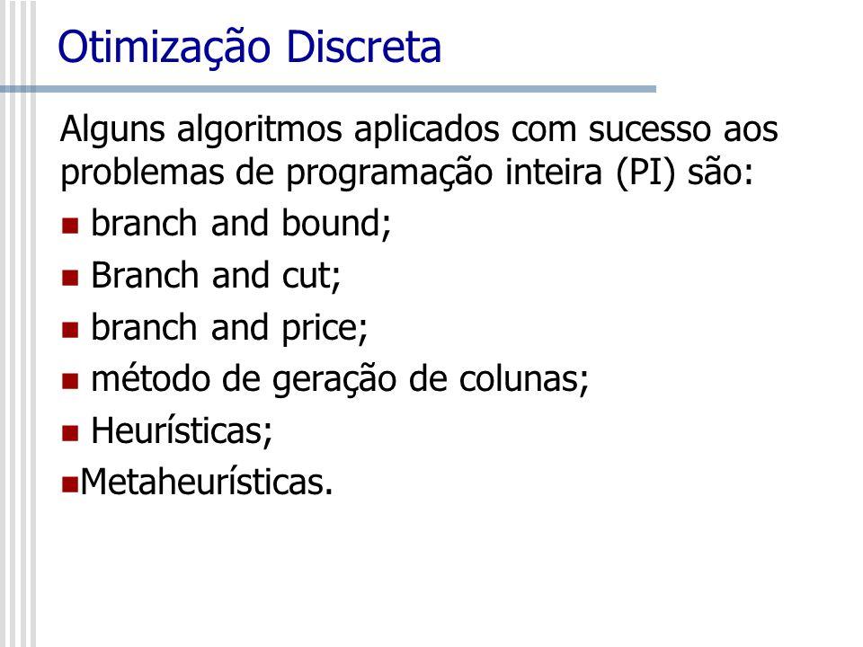 Otimização Discreta Alguns algoritmos aplicados com sucesso aos problemas de programação inteira (PI) são: