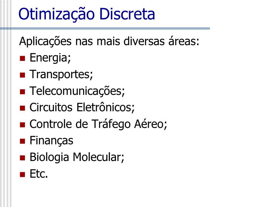 Otimização Discreta Aplicações nas mais diversas áreas: Energia;