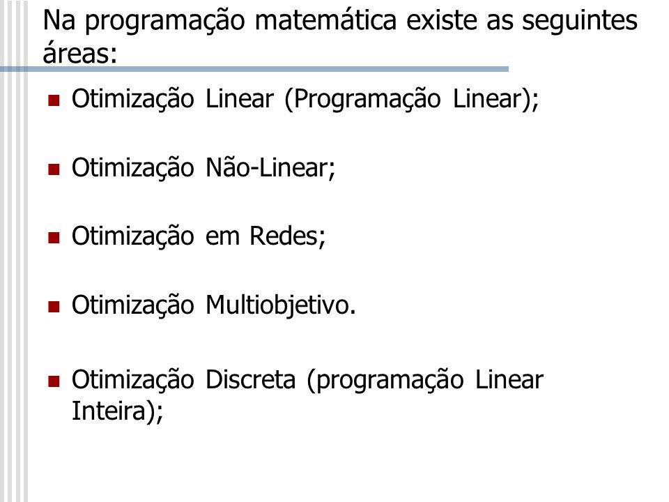 Na programação matemática existe as seguintes áreas: