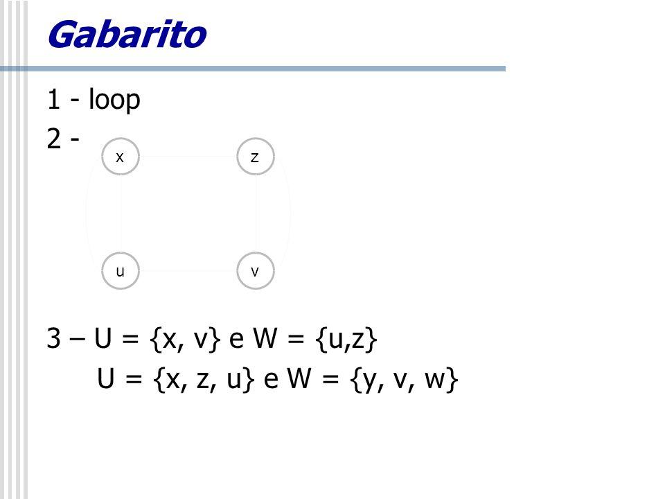Gabarito 1 - loop 2 - 3 – U = {x, v} e W = {u,z}