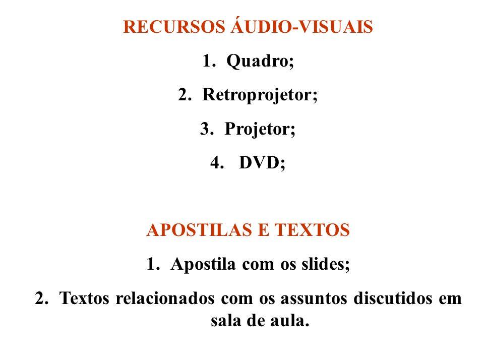 RECURSOS ÁUDIO-VISUAIS Quadro; Retroprojetor; Projetor; DVD;