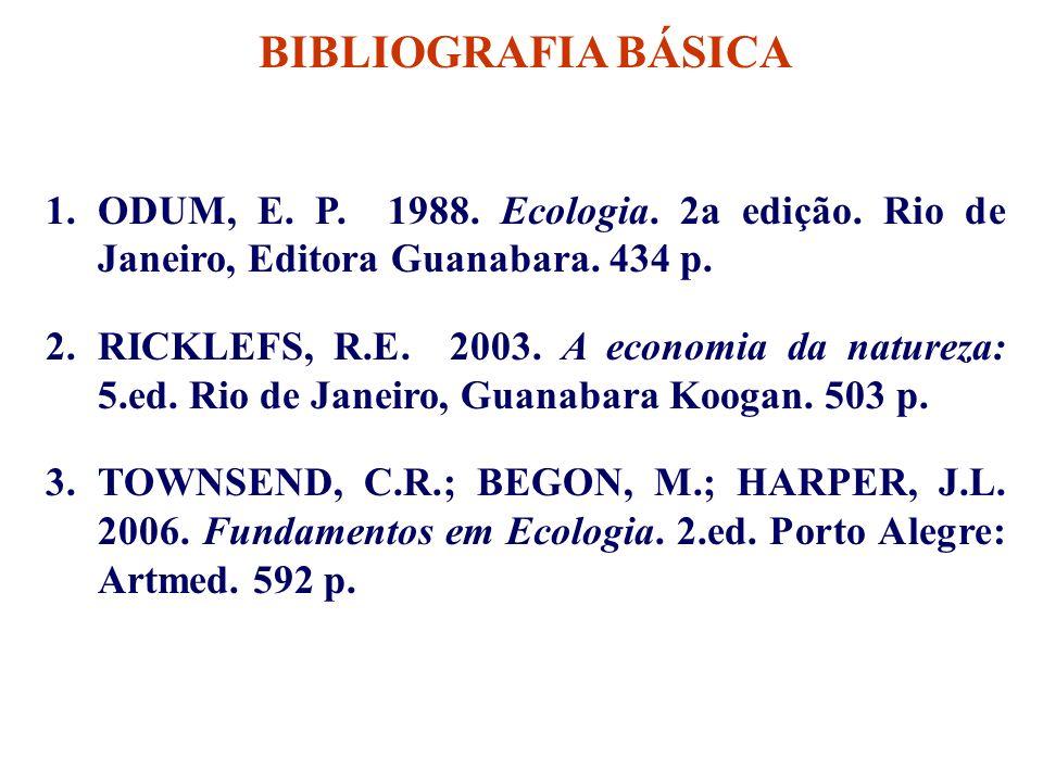 BIBLIOGRAFIA BÁSICA ODUM, E. P. 1988. Ecologia. 2a edição. Rio de Janeiro, Editora Guanabara. 434 p.