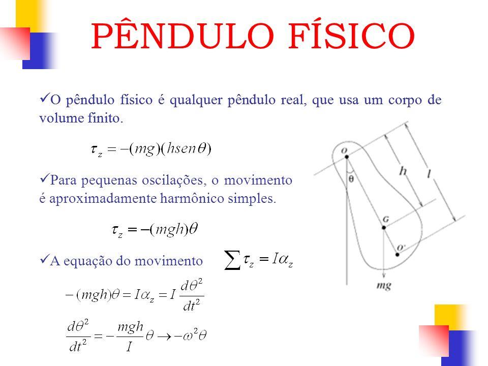 PÊNDULO FÍSICO O pêndulo físico é qualquer pêndulo real, que usa um corpo de volume finito.