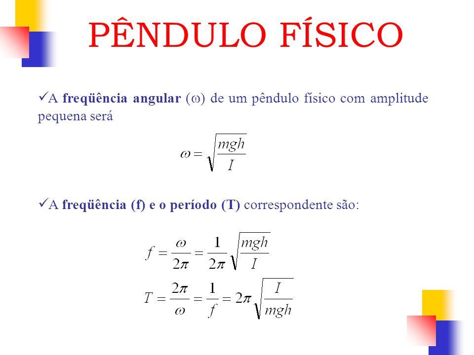 PÊNDULO FÍSICOA freqüência angular (w) de um pêndulo físico com amplitude pequena será.