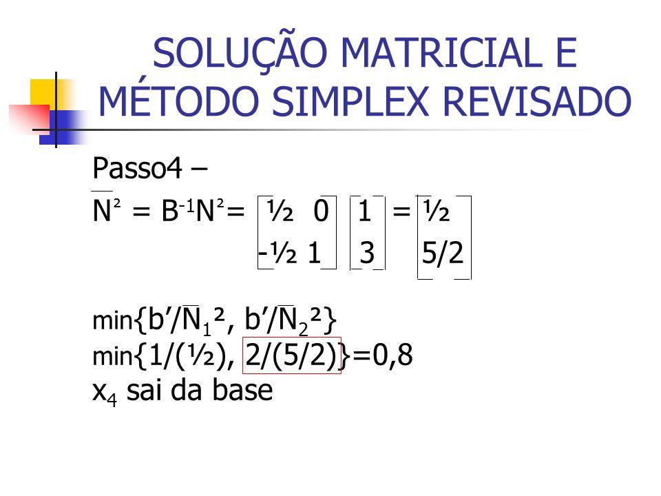 SOLUÇÃO MATRICIAL E MÉTODO SIMPLEX REVISADO
