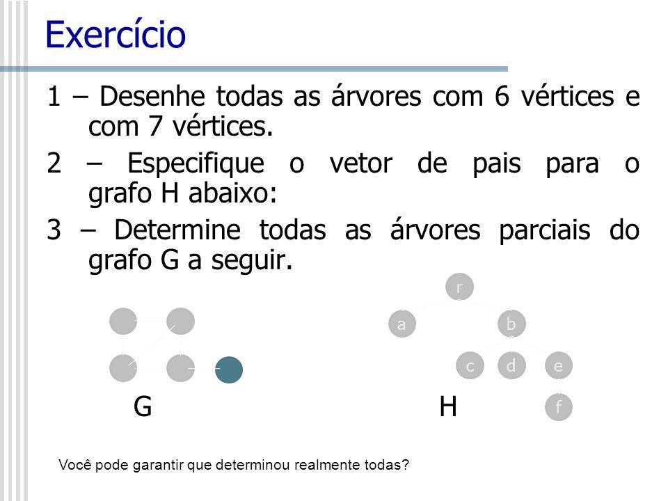 Exercício 1 – Desenhe todas as árvores com 6 vértices e com 7 vértices. 2 – Especifique o vetor de pais para o grafo H abaixo: