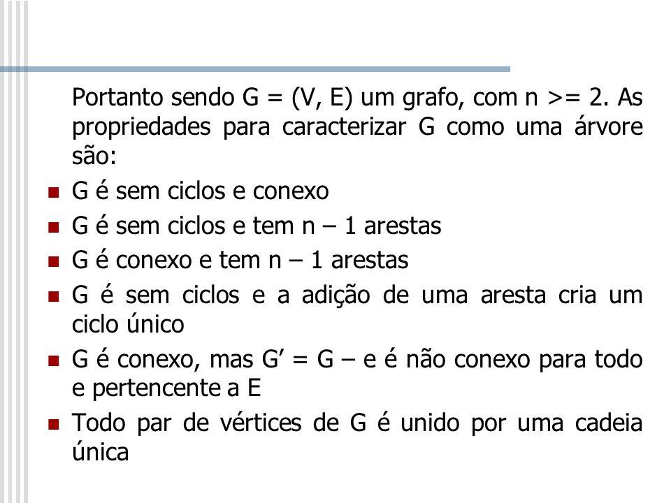 Portanto sendo G = (V, E) um grafo, com n >= 2