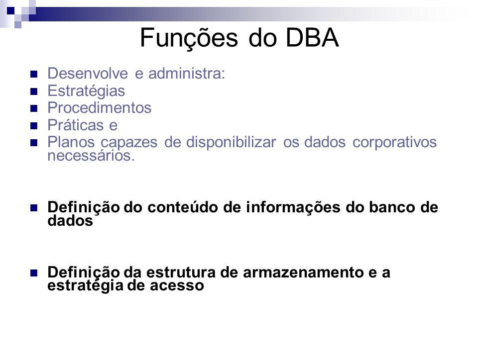 Funções do DBA Desenvolve e administra: Estratégias Procedimentos