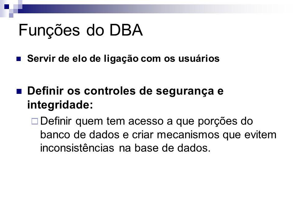 Funções do DBA Definir os controles de segurança e integridade: