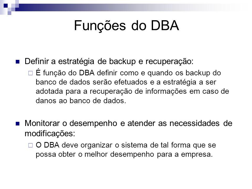 Funções do DBA Definir a estratégia de backup e recuperação: