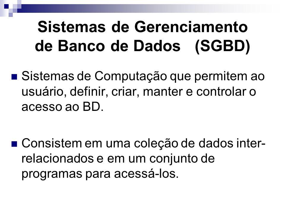 Sistemas de Gerenciamento de Banco de Dados (SGBD)