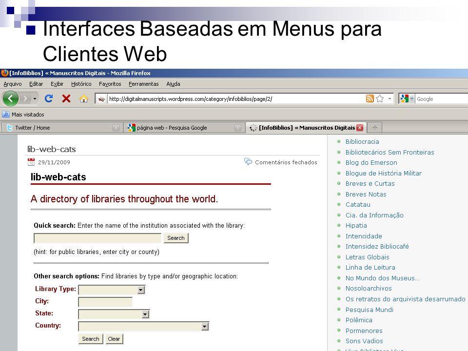 Interfaces Baseadas em Menus para Clientes Web