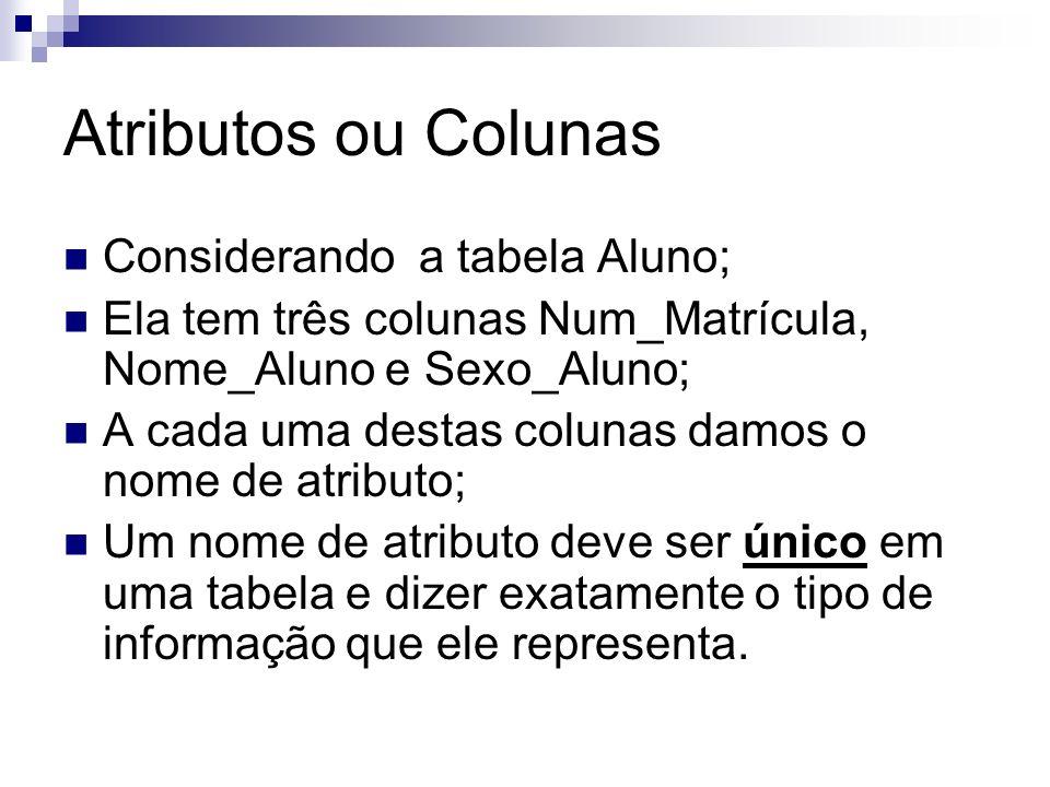 Atributos ou Colunas Considerando a tabela Aluno;