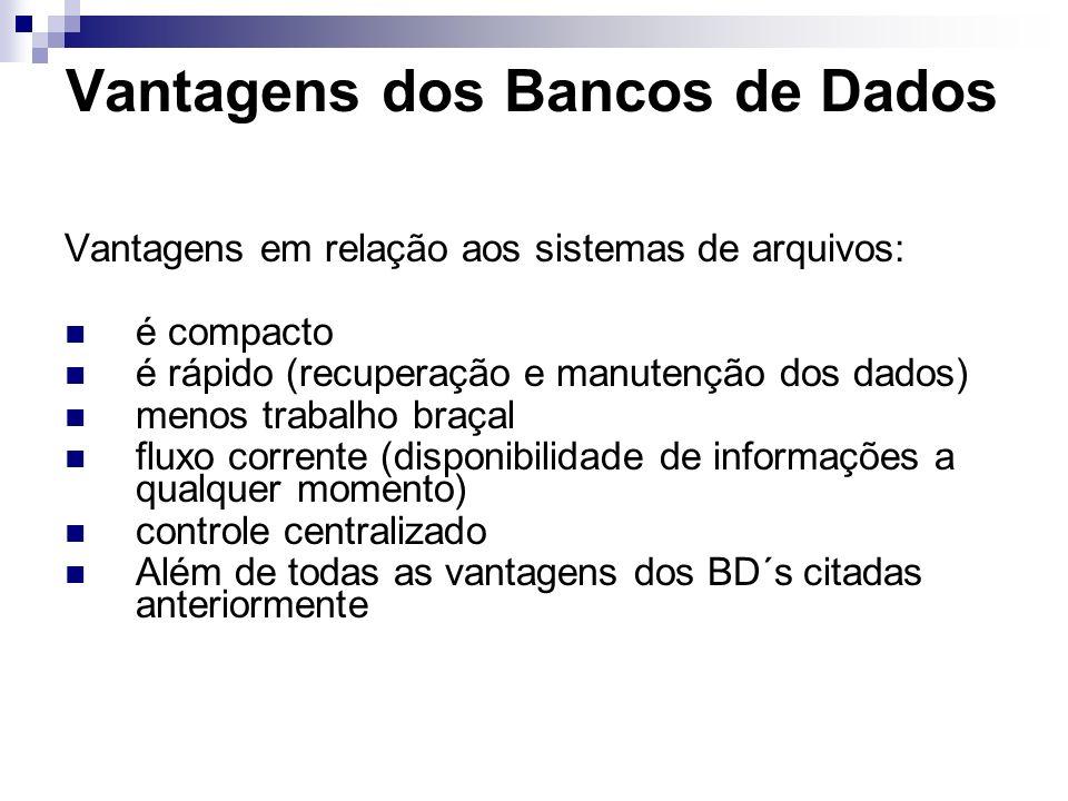 Vantagens dos Bancos de Dados