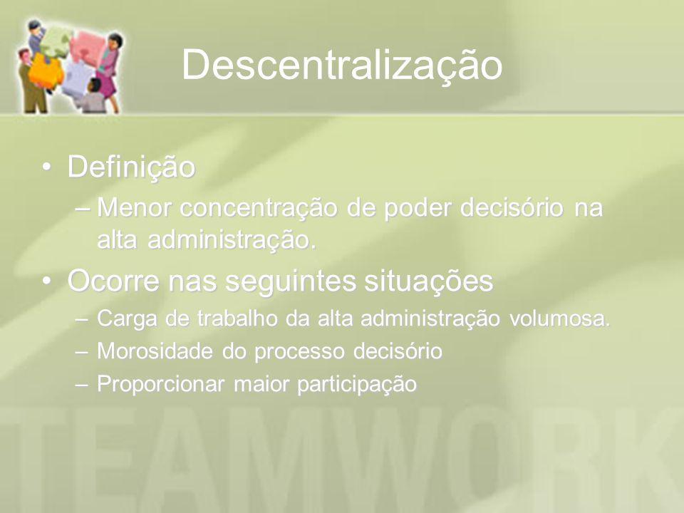 Descentralização Definição Ocorre nas seguintes situações