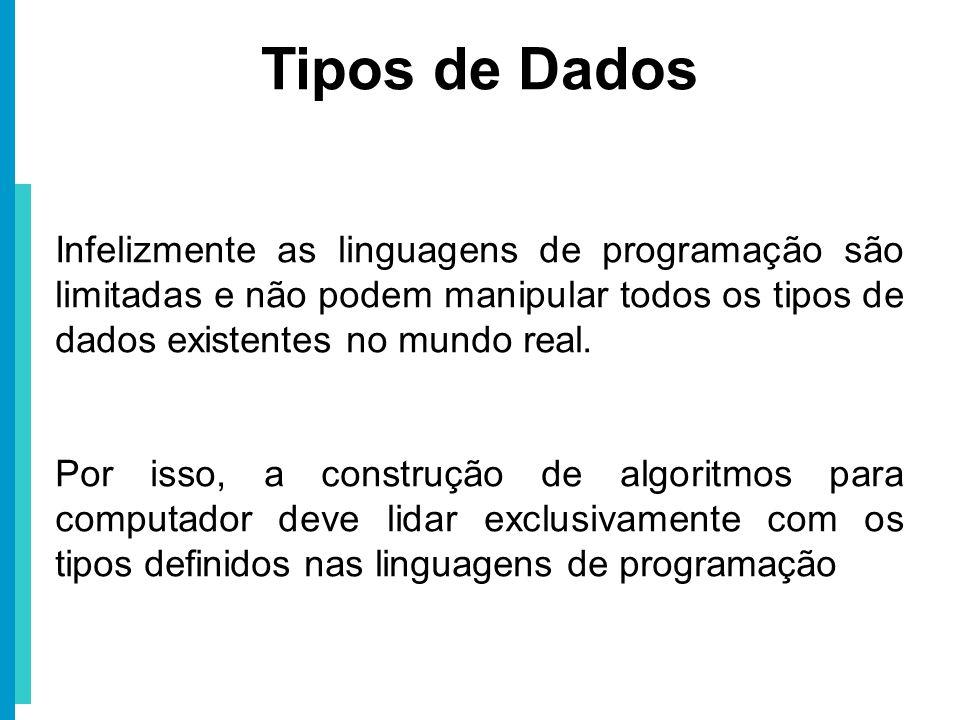 Tipos de Dados Infelizmente as linguagens de programação são limitadas e não podem manipular todos os tipos de dados existentes no mundo real.