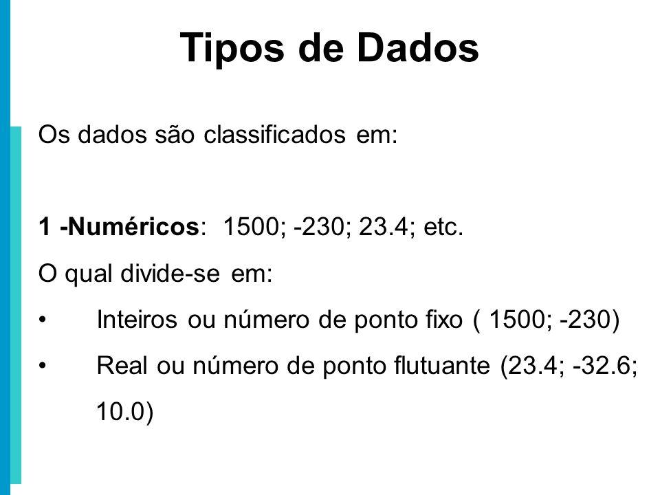 Tipos de Dados Os dados são classificados em: