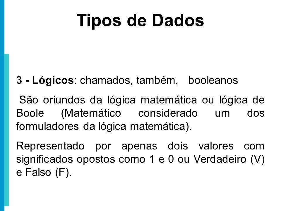 Tipos de Dados 3 - Lógicos: chamados, também, booleanos
