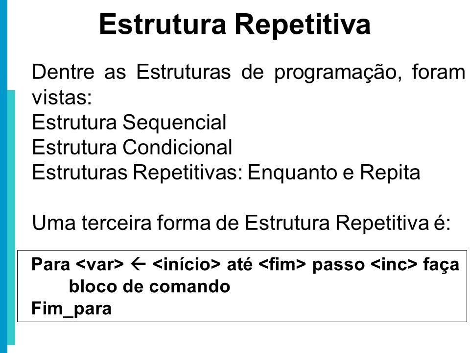 Estrutura Repetitiva Dentre as Estruturas de programação, foram vistas: Estrutura Sequencial. Estrutura Condicional.