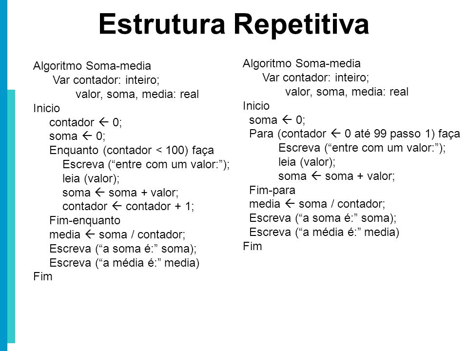 Estrutura Repetitiva Algoritmo Soma-media Algoritmo Soma-media
