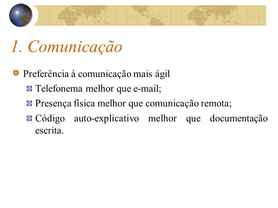 1. Comunicação Preferência à comunicação mais ágil