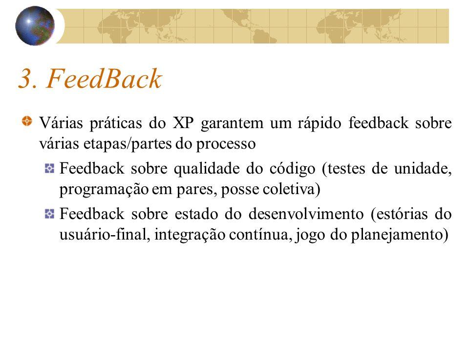 3. FeedBack Várias práticas do XP garantem um rápido feedback sobre várias etapas/partes do processo.