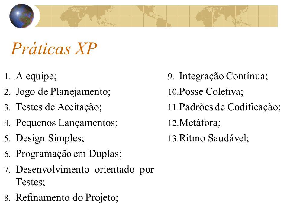 Práticas XP A equipe; Jogo de Planejamento; Testes de Aceitação;