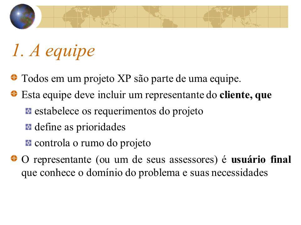 1. A equipe Todos em um projeto XP são parte de uma equipe.